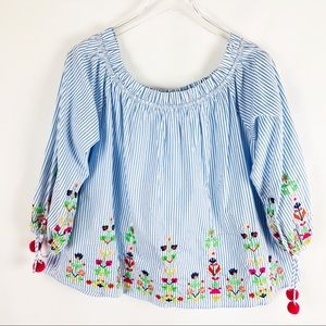 Tops - Striped Embroidery Flower Long Sleeve Top w Poms